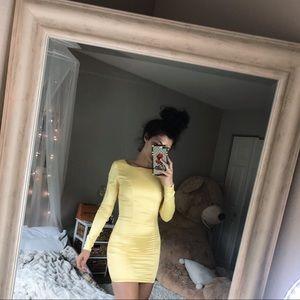 Yellow satin dress